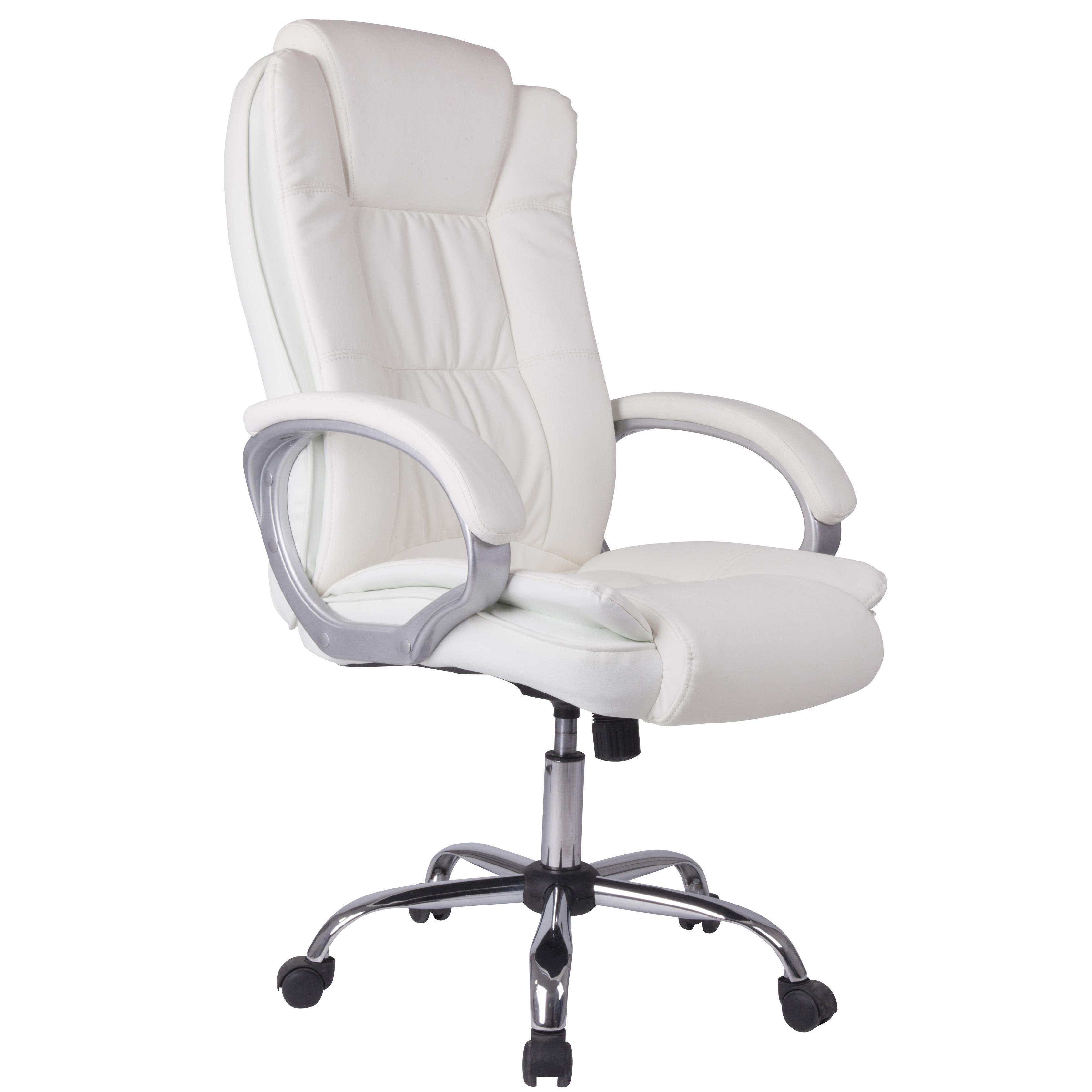 Silla de oficina blanca con cinco ruedas
