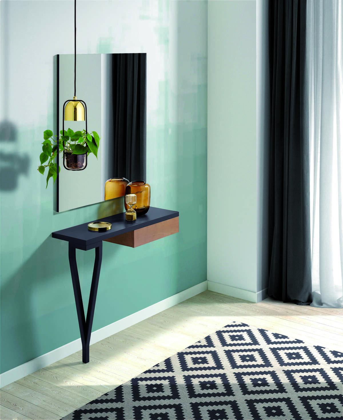 44 – Elegante recibidor con cajón auxiliar perfecto para completar cualquier ambiente. 90 x 79 x 28 cm. espejo 95 x 84 x 2 cm.