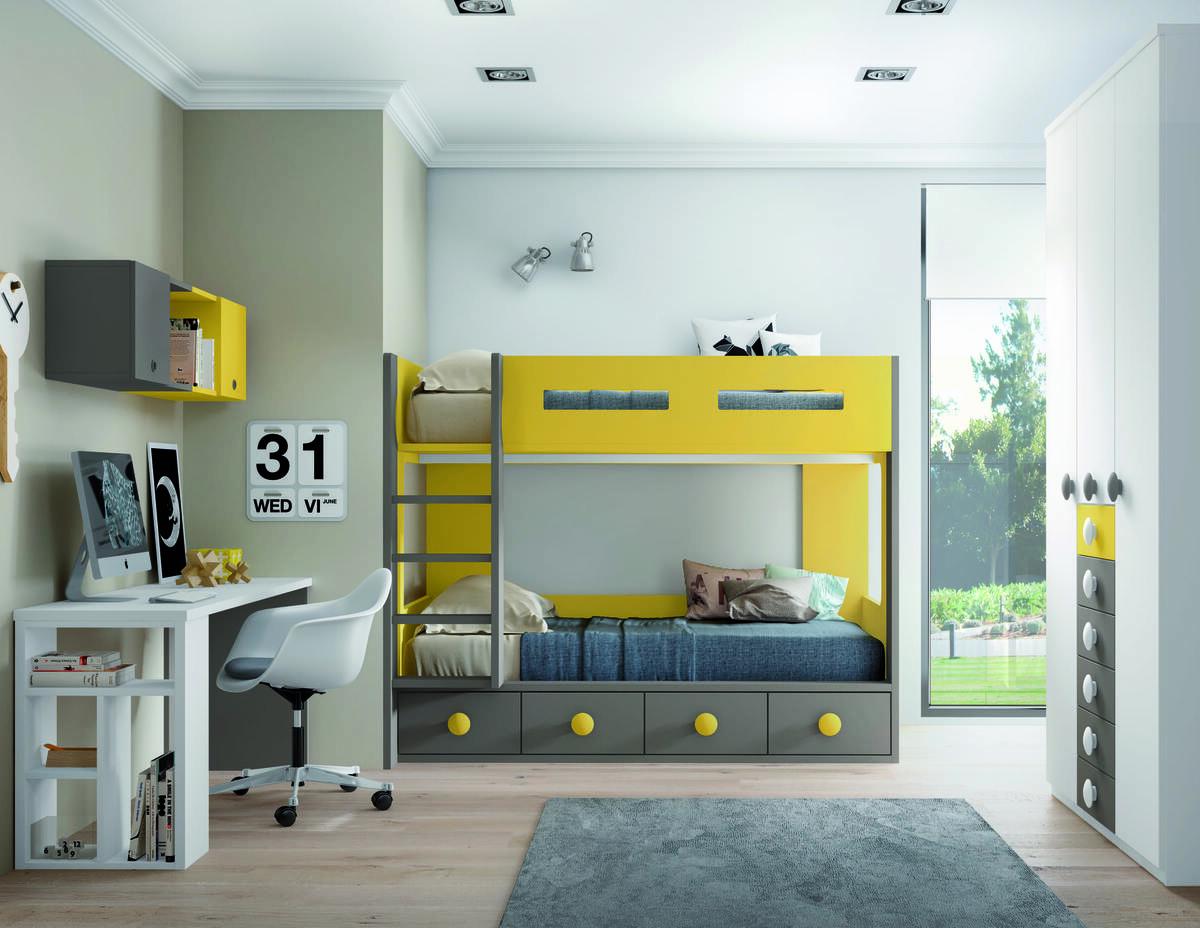 53 – Compartir habitación no será un problema gracias a esta funcional composición juvenil que aprovecha hasta el último centímetro de espacio para ofrecer todas las comodidades.