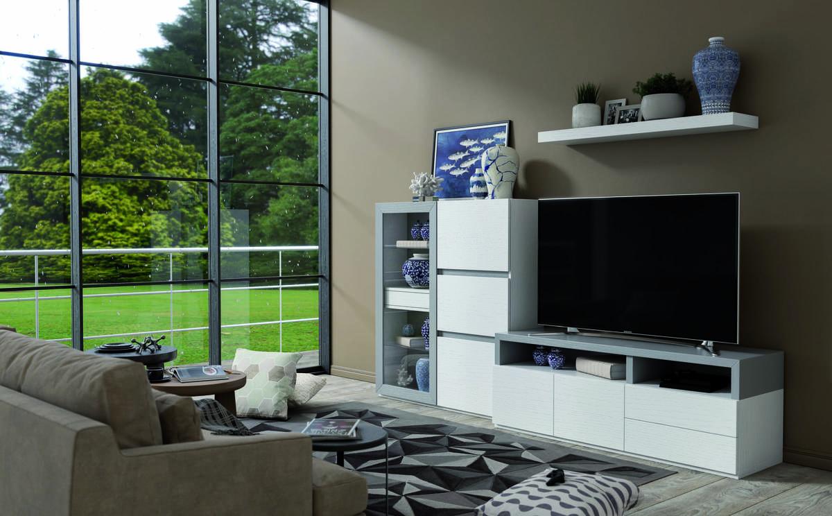 08 – Salón modular con aire natural y versátil que permite infinidad de propuestas para cualquier tipo de espacios y ambientes. 270 x 150 x 47 cm.