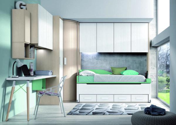 61 – Dormitorio juvenil con funcionales espacios de guardado como su armario con inteligente combinación de puerta corredera curva y puerta que dan lugar a un gran vestidor con un amplio acceso ocupando un mínimo espacio. Opción conector USB.