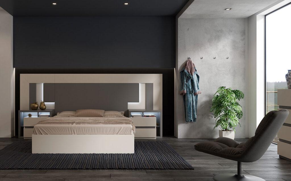 Dormitorio con elementos naturales